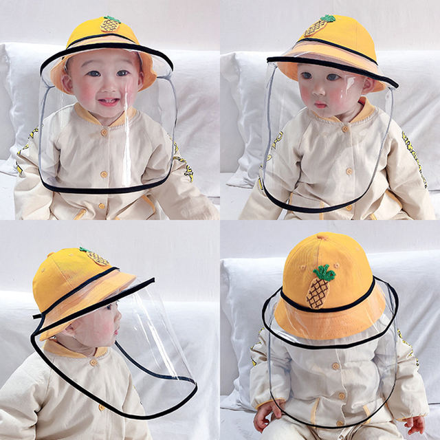 Children Anti Saliva Hat Outdoor Dust-proof Cartoon Fruits Protective Face Cover Caps Removable Mask Sun Shield Baseball Cap 3
