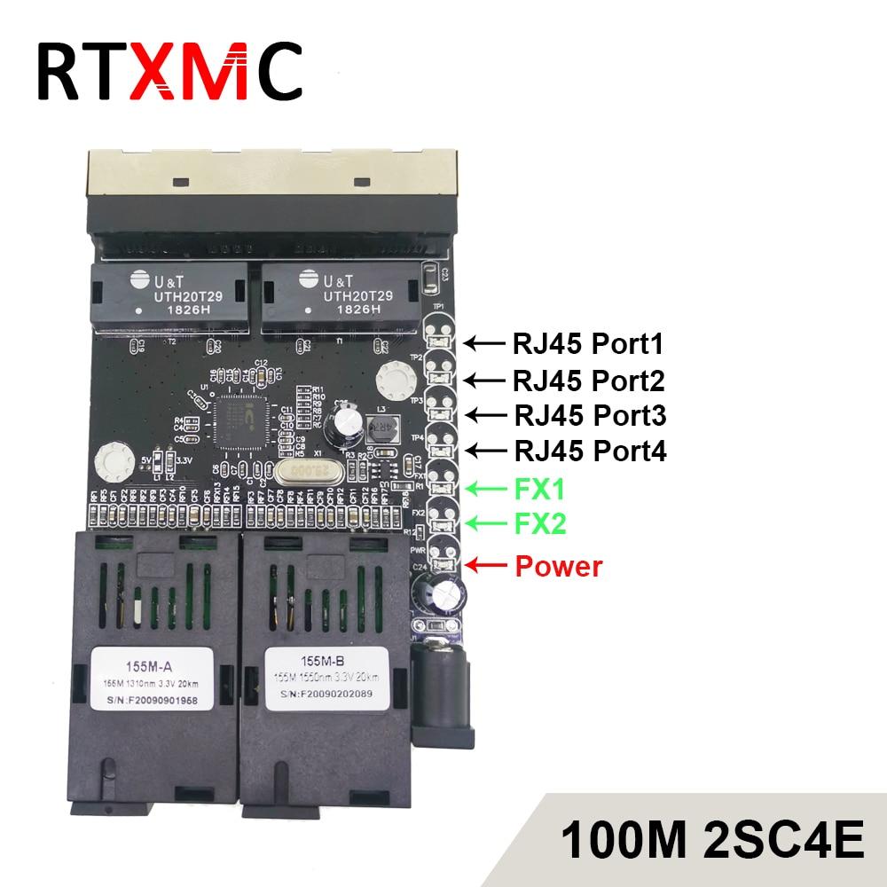 Black Board 2SC4E100M Fast Erhetnet 2F4E 10/100M Ethernet Switch 2 Fiber Port SC 25KM 4 UTP RJ45 Fiber Optical Switch PCBA Board