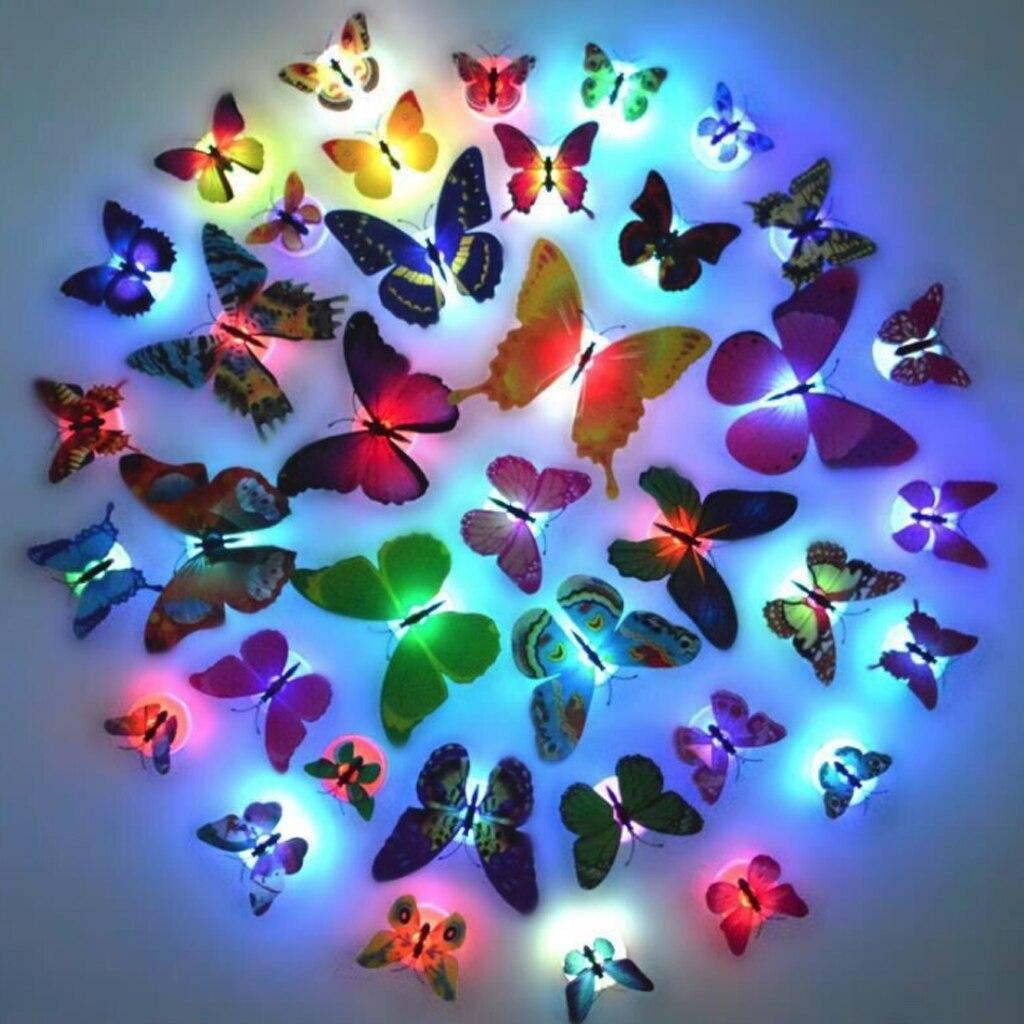 10 pçs led 3d borboleta luzes de parede led borboleta luzes da noite decoração do quarto natal ornamento decoração do quarto para casa dropshipping