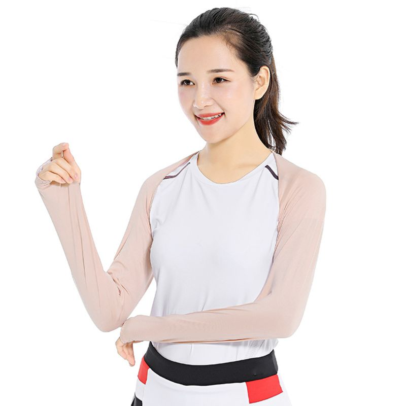Women Summer Anti-UV Cooling Shawl Arm Sleeves Golfing Riding Outdoor Ice Silk Sun Protector Gloves Wrap With Thumb Hole