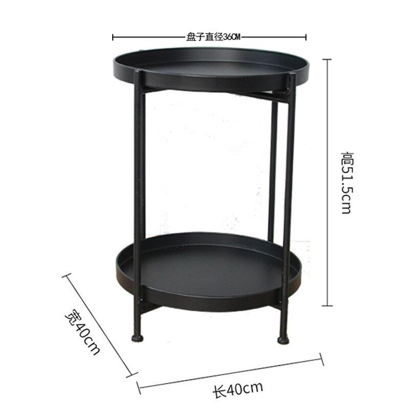 Nordique simple double couche petite table basse salon canapé chambre chevet en fer forgé table ronde stockage rack mx7111618 - 6