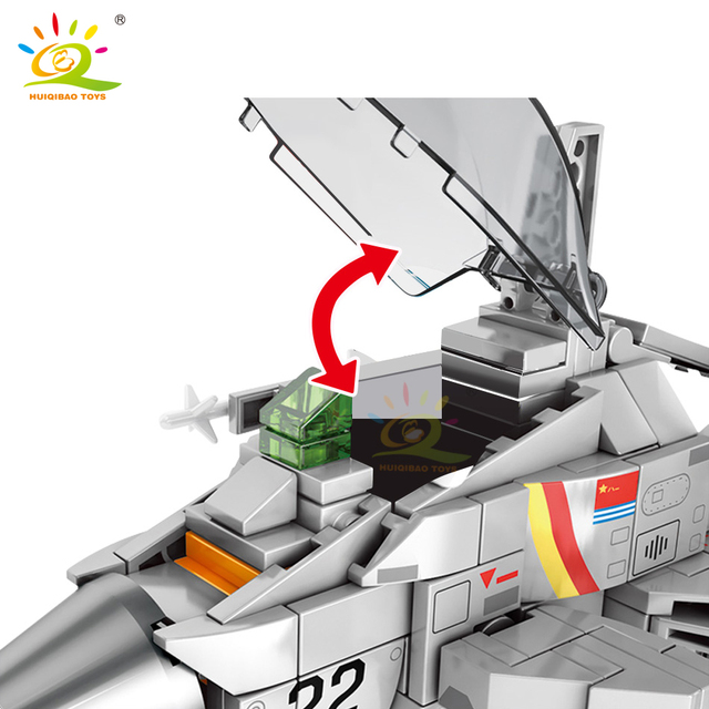 HUIQIBAO 366PCS Flanker-D Shipborne Fighter Building Block Airplane Military city plane Model Bricks Construction children toys