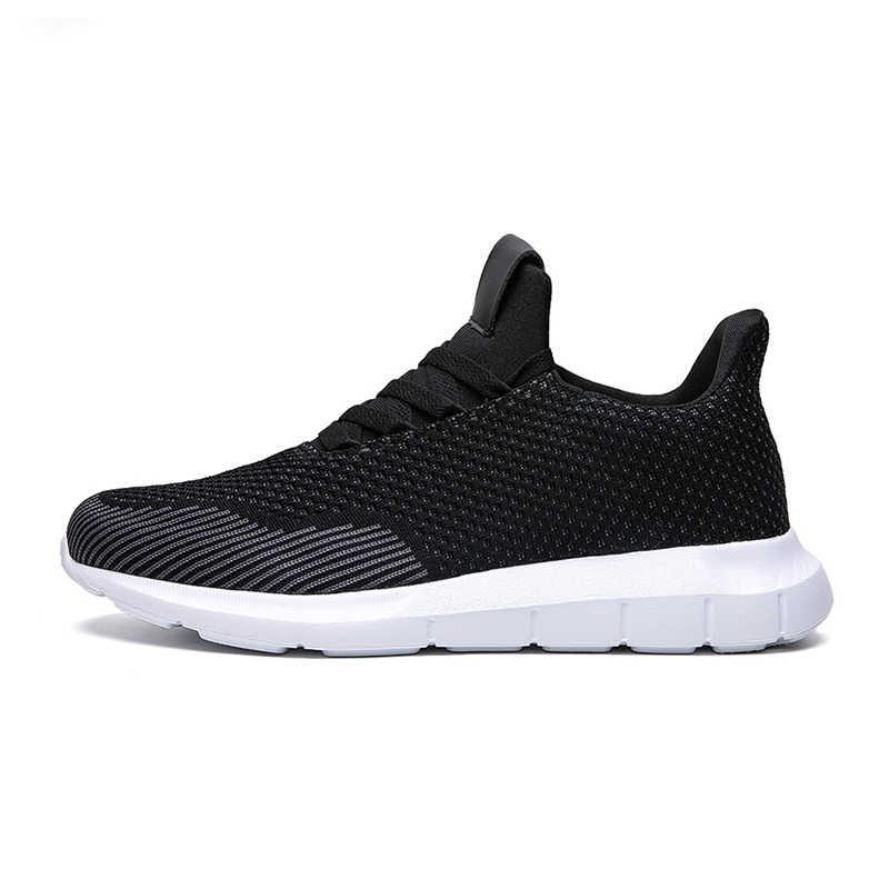 Işık koşu ayakkabıları nefes yaz Sneakers erkekler kaymaz aşınmaya dayanıklı siyah yürüyüş koşu spor erkek ayakkabı büyük boy