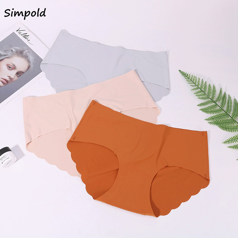 Simpold Ice Silk Ladies Underwear One Piece Seamless Breathable Panties For Women Mid Waist Sexy Lingerie Silky Girl Briefs