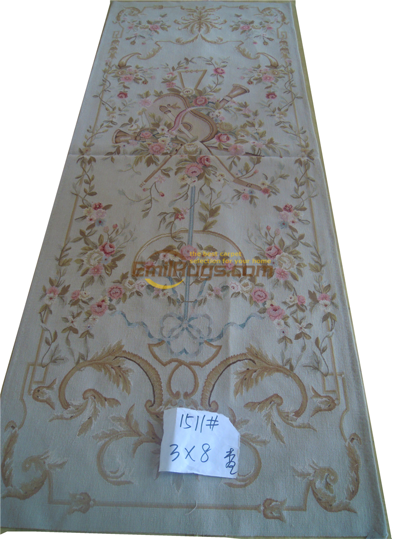 Time-limited Special Offer Styling Alfombras Tapetes Pure Handmade French Aubusson Carpets 91cmx244cm (3'x 8') 1511gc147aubyg30