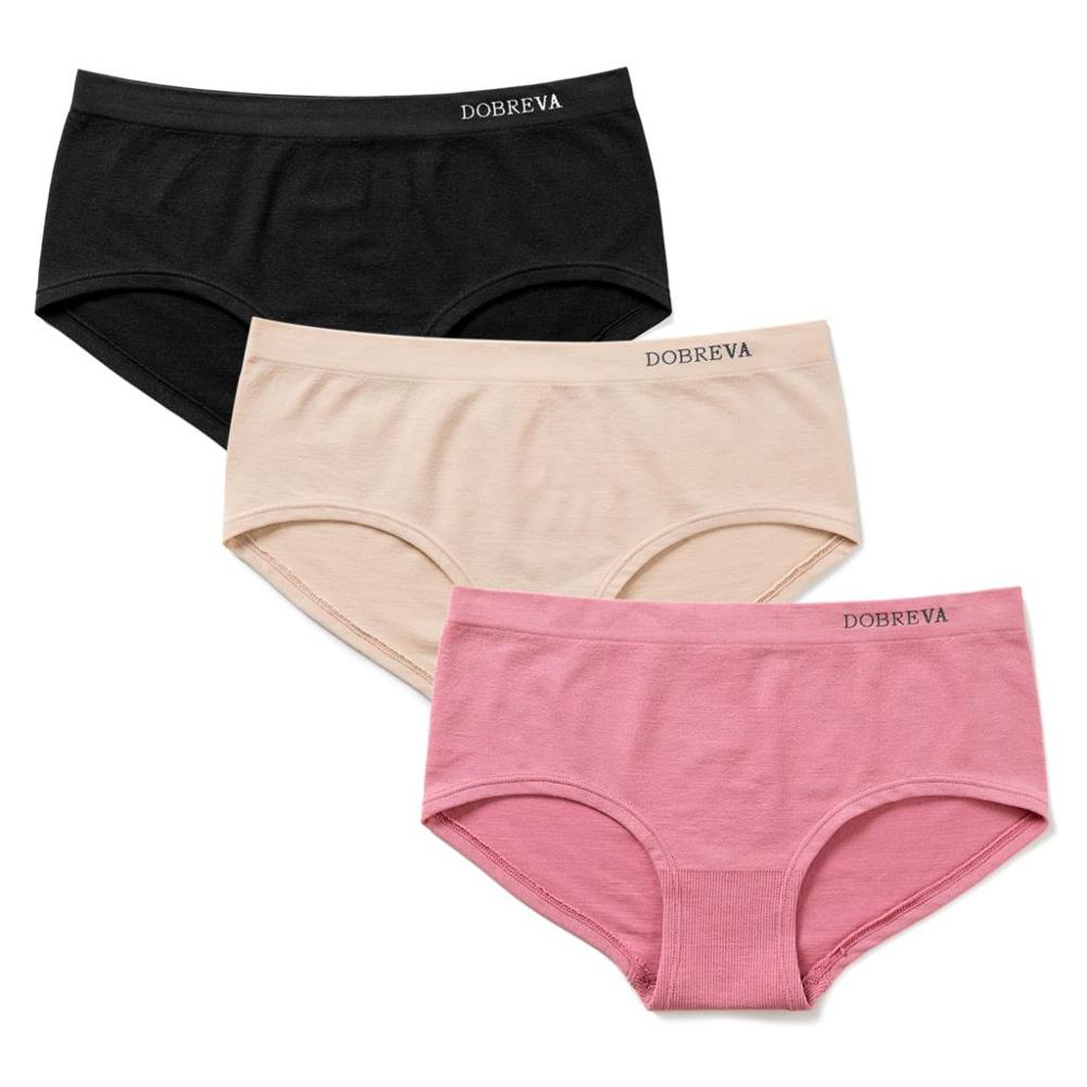 Dobreva Womens 2 Pack Cotton Lace Back Hipster Panties Low Rise