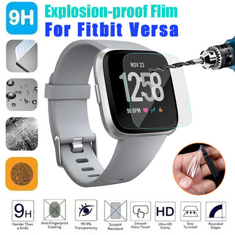 Kuulee 1 Pcs/2 Pcs Voor Fitbit Versa Screen Protector Gehard Glas Ultra Slim Guard Smart Horloge Screen Protetive glas Screen