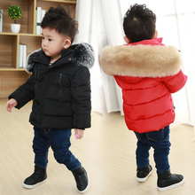 цена Toddler Girl Winter Clothes Boys Down Jackets Kids Coat with Fur Thick Hooded Coats Baby Parkas Girls Snowsuit Children Outfits онлайн в 2017 году