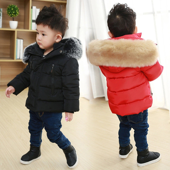 цена на Toddler Girl Winter Clothes Boys Down Jackets Kids Coat with Fur Thick Hooded Coats Baby Parkas Girls Snowsuit Children Outfits