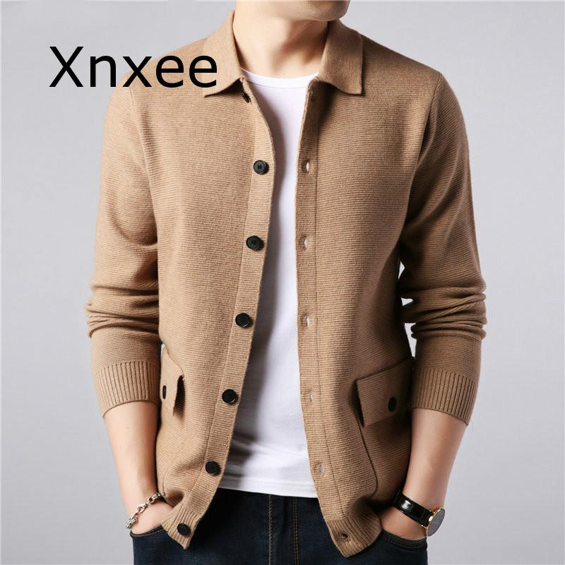 Sweater Men Streetwear Fashion Sweater Coat Men Autumn Winter Warm Cashmere Woolen Cardigan Men With Pocket