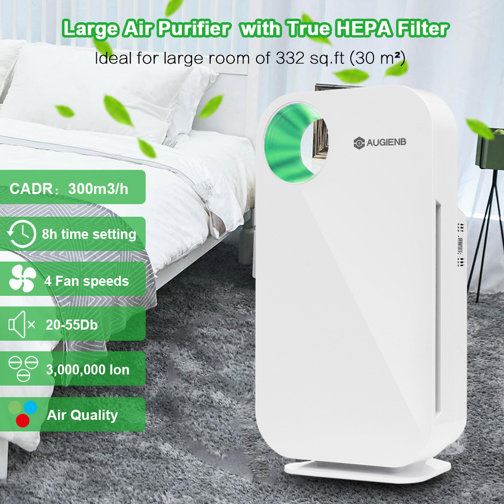 AUGIENB HEPA Filter Home Air Purifier 5- Odor Allergies Eliminator For PM2.5 Smoke Dust Mold With Air Quality Indicator