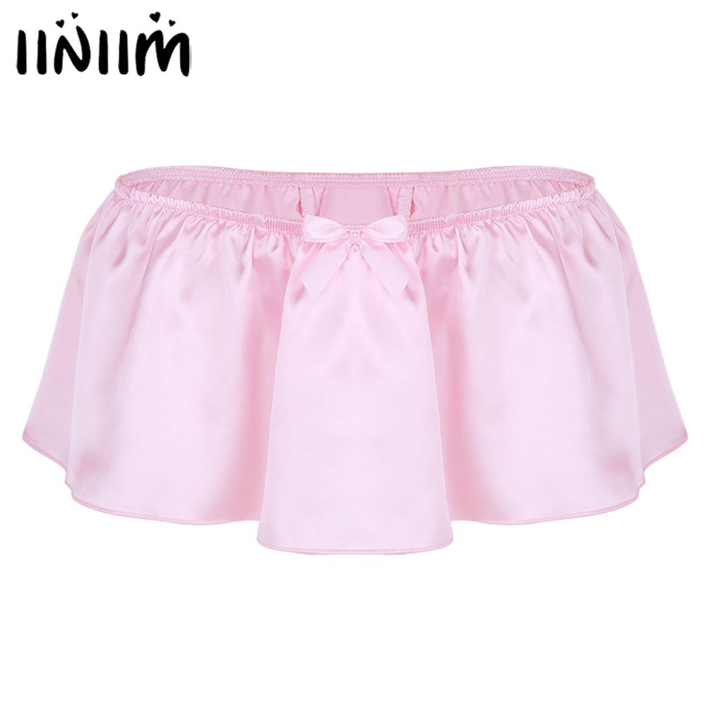 Iiniim Lingerie Sexy Gay Panties For Mens Shiny Satin Sissy Skirted With Bowknot Thongs String Homme Underwear Underpants