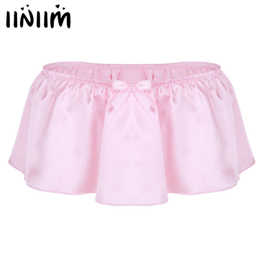 Iiniim-culotte en Satin brillant pour hommes, sous-vêtements Sexy, Lingerie Gay, avec jupe à nœud papillon