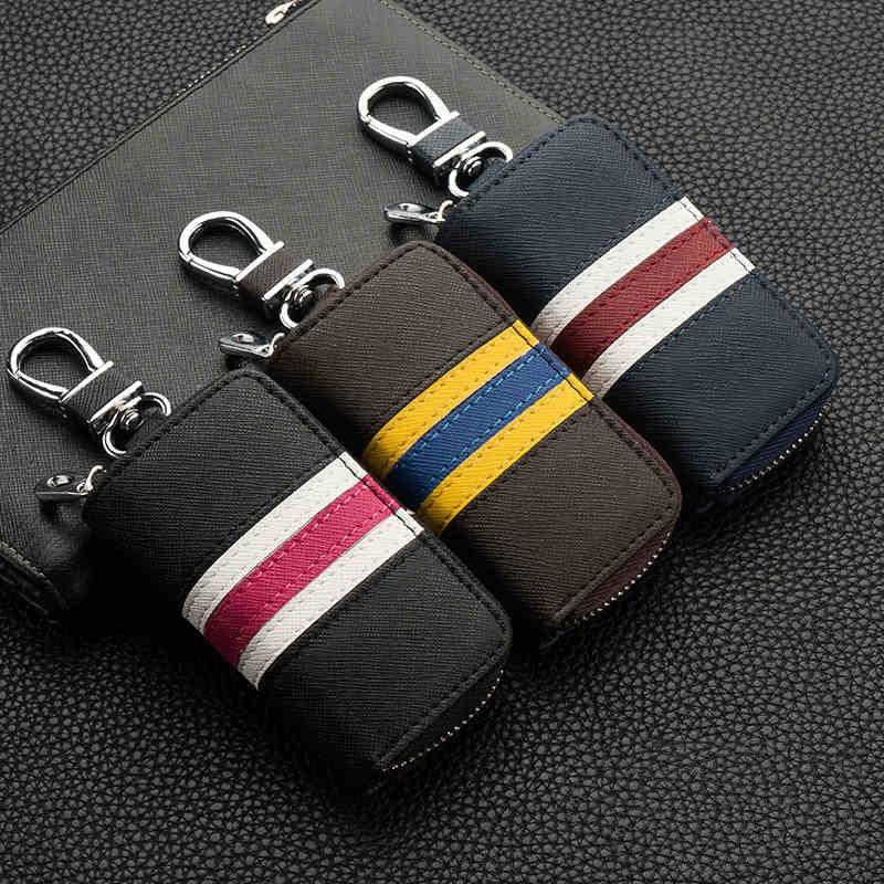 Универсальный кожаный чехол для ключей от машины, чехол-кошелек для мужчин и женщин, Подарочный Брелок на молнии, защитный держатель, модный