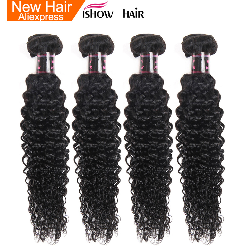 Ishow Indian Hair Bundles Kinky Curly Weave Human Hair Bundles 1Pc Natural Color Hair Extensions Double Weft Non Remy Hair Weave