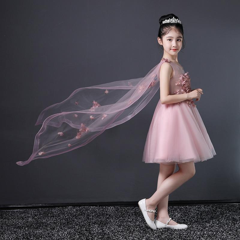 Little Flower Girl Wedding Dress CHILDREN'S Dress Princess Dress Puffy Yarn Girls Piano Costume Host Late Formal Dress Summer