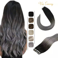 VeSunny Tape In Human Hair Extensions Adhesive Remy Human Hair Ombre Black Grey 50g Glue On Hair Straight Seamless Skin weft