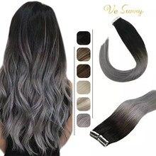 Fita de vesunny em extensões do cabelo humano adesivo remy cabelo humano ombre preto cinza 50g cola no cabelo em linha reta sem emenda da pele trama