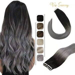 VeSunny лента для наращивания человеческих волос, клей Remy, человеческие волосы, Омбре, черный, серый, 50 г, клей на волосы, прямые, бесшовные, кожа, ...
