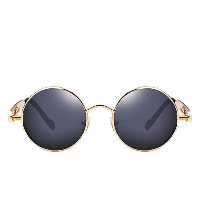 ราคาถูกแว่นตากันแดดกลมโลหะ Steampunk Ultra ต่ำผู้ชายผู้หญิงแฟชั่นแว่นตา Retro Vintage แว่นตากันแดด UV400