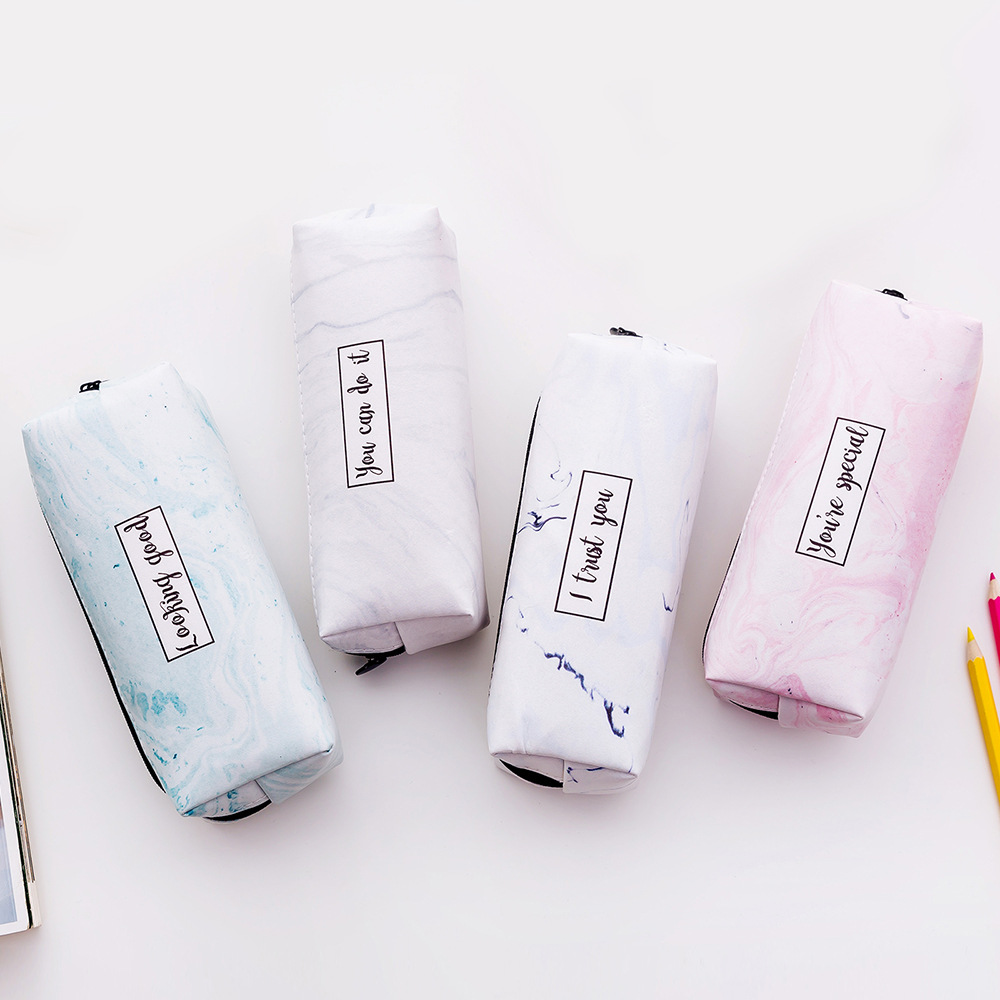 2019 PU Marble Student School Cute Stationery Triangle Pencil Case Bag Kawaii Korea Package