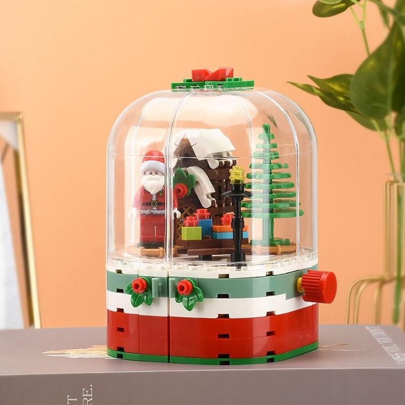 2019 NEW Christmas Sets Santa Claus Crystal Ball Sleigh Reindeer Village Train Compatible Legos Building Blocks Bricks Toys Gift