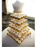 event party supplies Original brand new package mail 6 square clean acrylic cake tier acrylic cupcake stand wedding decoration