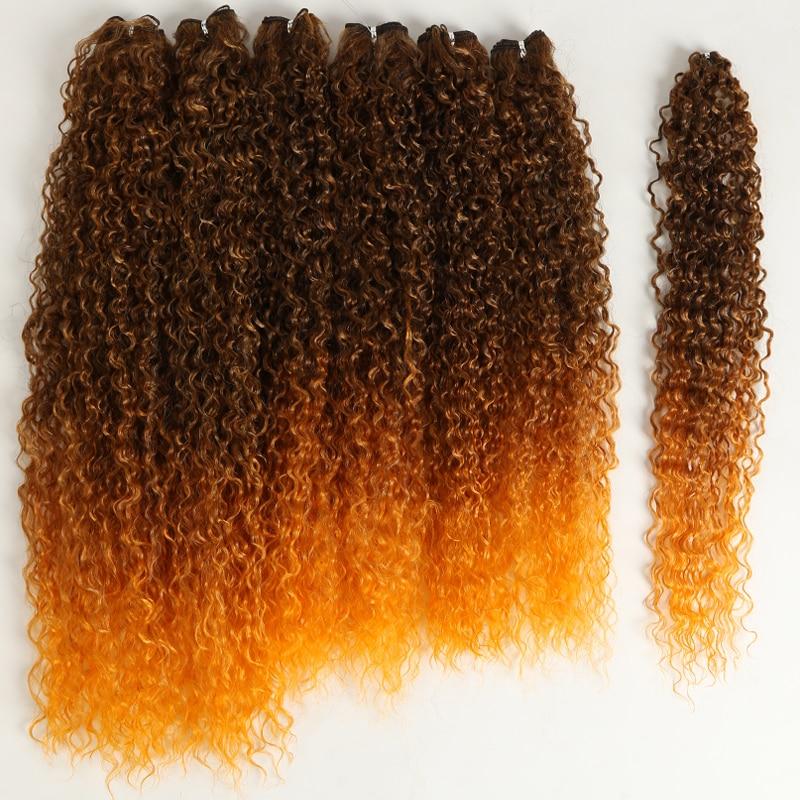 Afro Kinky Cabelo Encaracolado Pacotes Ombre Preto Marrom 22-26 Polegada Tecer Sintético Pacote 7 Unidades – Cosplay Clássico Mais