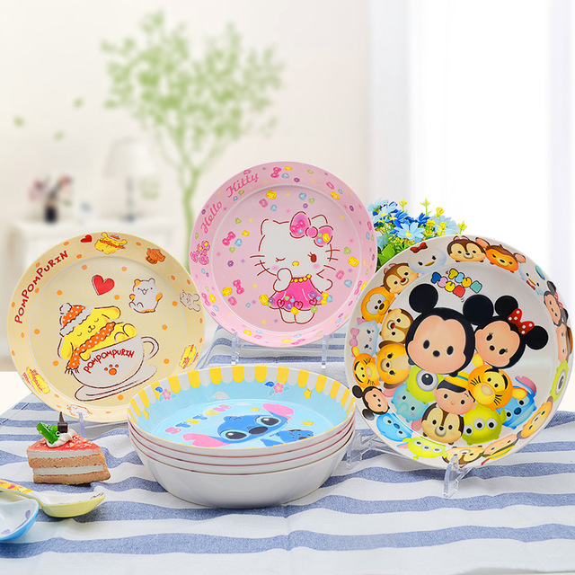 Baby Food Use Melamine 16  Patten Cartoon Food Service Plate Kid Tableware Tray