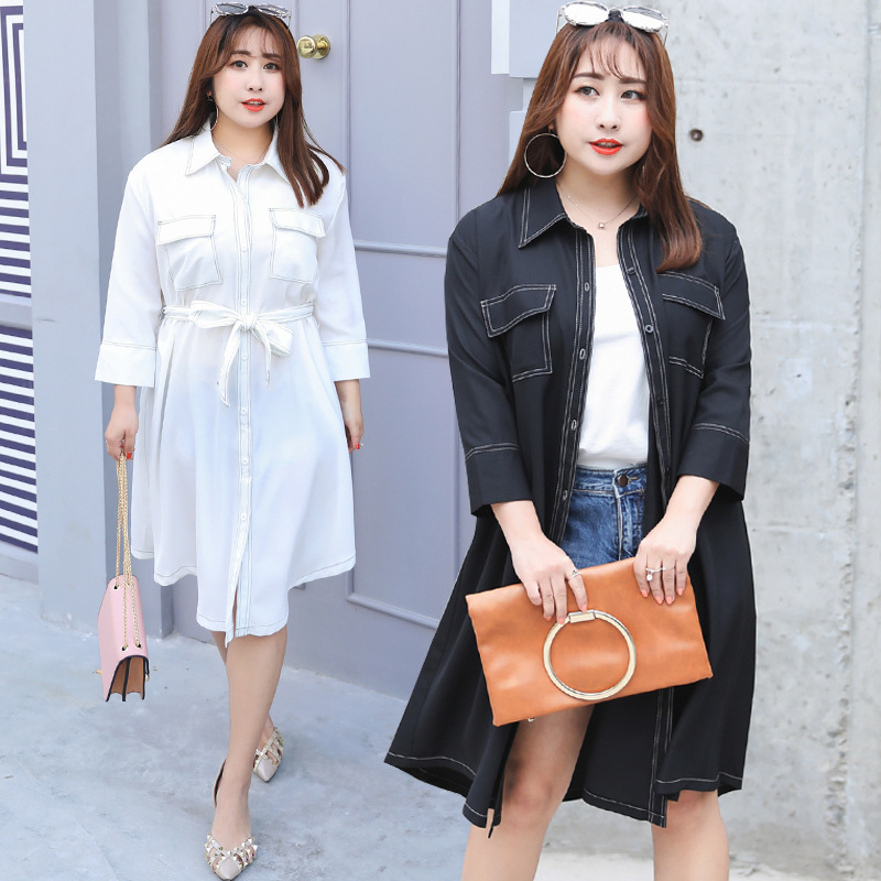 2019 Autumn Clothing New Style Large GIRL'S Size Large Size Elegant Casual Shirt Dress Plus-sized A Generation Of Fat A059