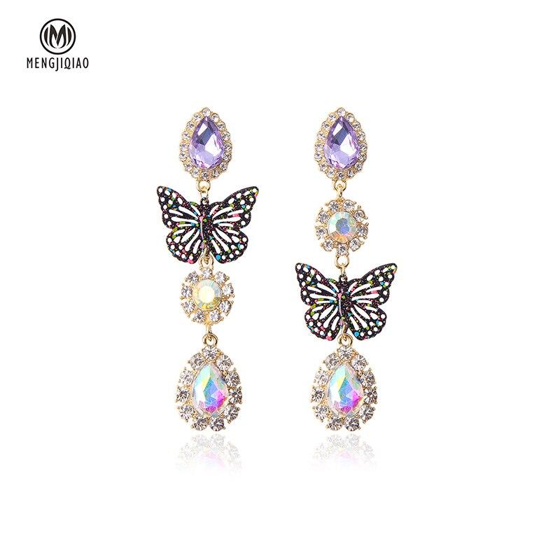 MENGJIQIAO 2020 Fashion Korean Butterfly Waterdrop Dangle Earrings For Women Elegant Party Holiday Pendientes Jewelry