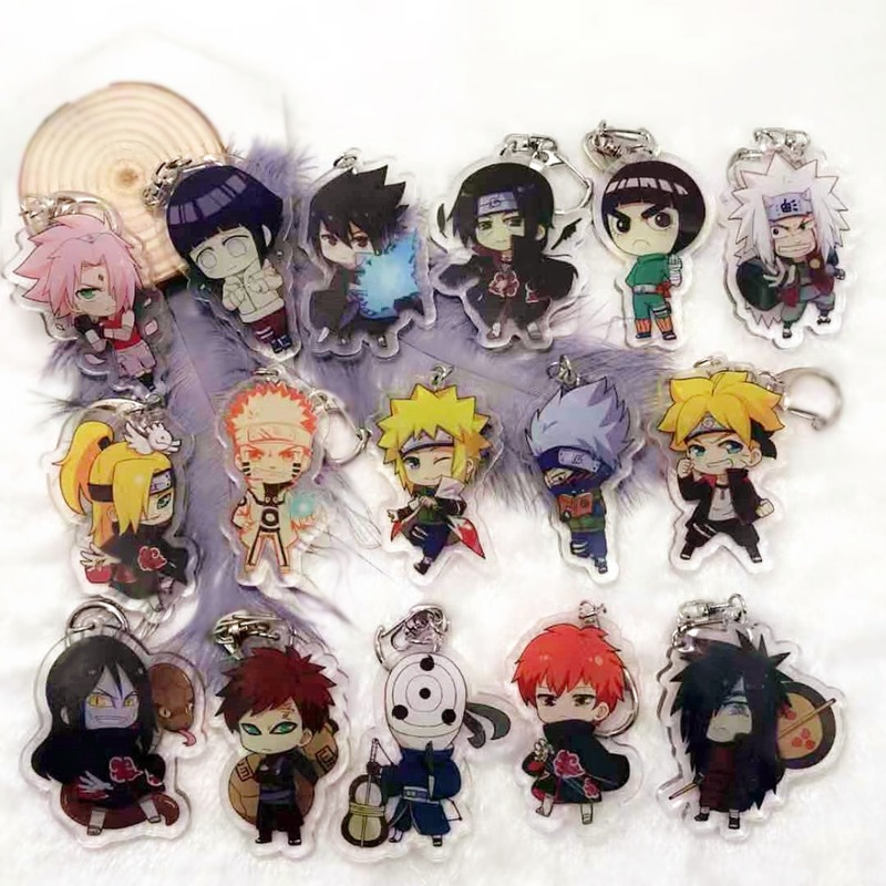 Anime Keychains Naruto Men Keychain Pendant Accessory Obito Deidara Uchiha Sasori Itachi Acrylic Cartoon KeyRing Jewelry Brelok(China)