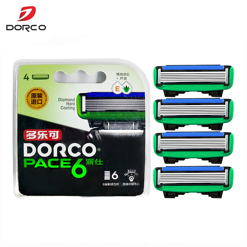 4 Pcs/pack Original Dorco Pace 6 High-quality Men Manual Razor Blades 6-Layer Blade Stainless Steel Blades