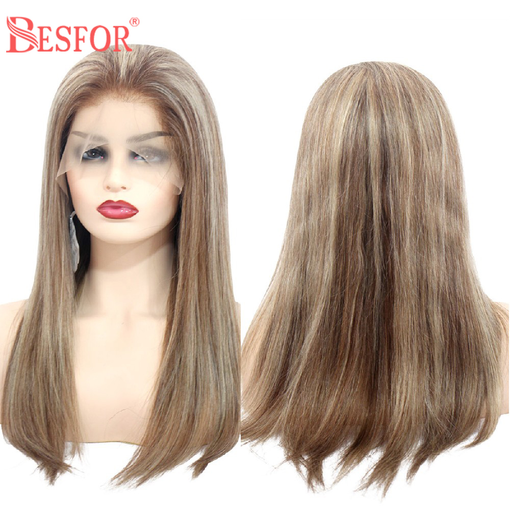 BESFOR Straight 13*6 Lace Front Wig Human Hair Baby Hair Balayage Ombre 6T-6-613 Bleach Blonde Thick Glueless Lace Frontal Wigs