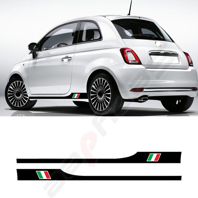 1 Pair Car Side Skirt Sticker for Fiat 500 Auto Body Decor Long Stripes Italy Flag Stylish Vinyl Flim Decal Car Accessories