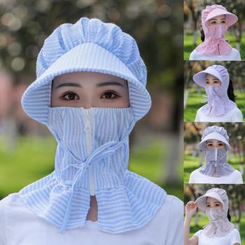 30 ^ dorosłe kobiety Lady Outdoor Home Zipper drukuj ochrona kapelusz czapka z daszkiem czapka przeciwsłoneczna wielofunkcyjna osłona ochronna tanie i dobre opinie Pszczelarstwo Kapelusze 100 COTTON