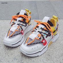 2020 Women Platform Chunky Sneakers 5cm high lace-up Casual Vulcanize Shoes luxury Designer Old Dad female fashion Sneakers f53 new women platform chunky sneakers lace up casual vulcanize shoes designer dad female fashion sneakers 2019 women shoes