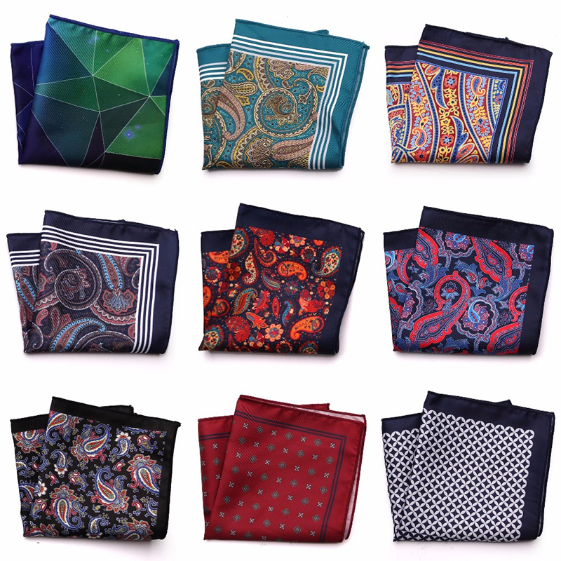 YISHLINE Distinctive Mens Handkerchief Pocket Square Silk Man Floral Paisley Men Chest Hankies For Men's Suit Accessories