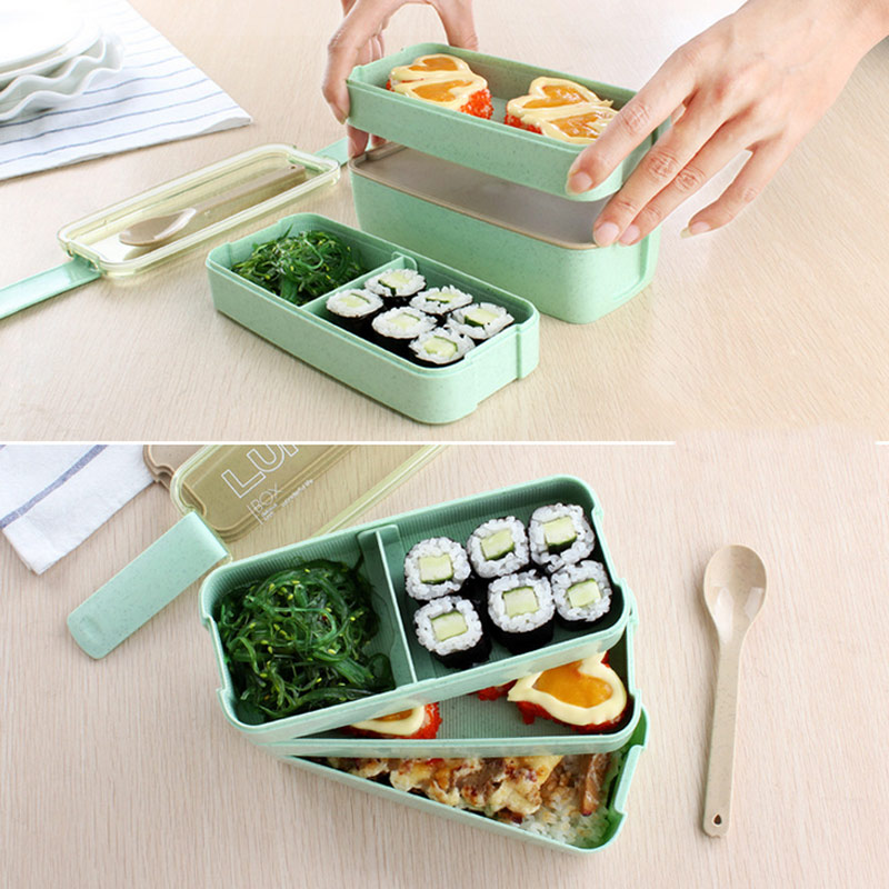 3 Layer Creative Plastic Lunch Bento Boxes Containers For Food Microwave Bento Box For Student Portable Lunch Case Picnic