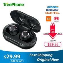 Doogee Dopods TWS parmak izi dokunmatik Bluetooth 5.0 kablosuz Bluetooth kulaklık ile şarj kutusu akıllı dijital kulaklık