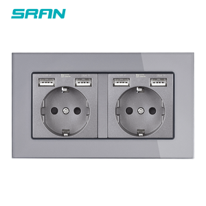 Image 4 - SRAN EU standard wand multi rahmen power steckdose mit usb stecker geerdet schwarz glas doppel usb outlet 4 ladung port
