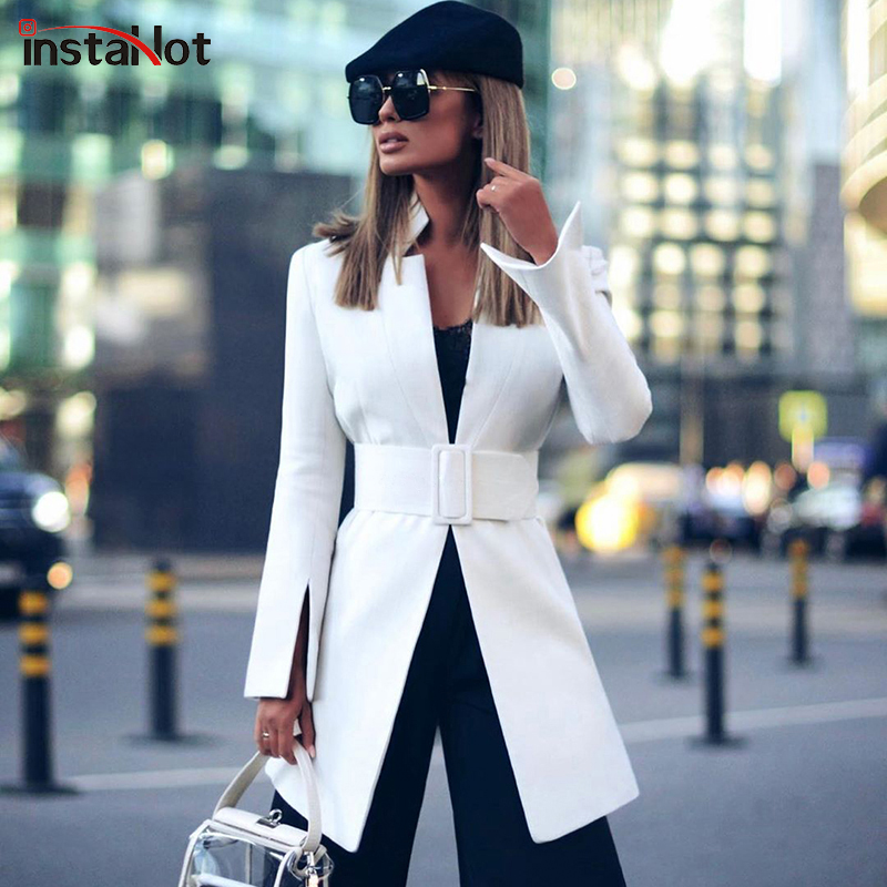 InstaHot Chic White  Women Blazer Autumn With Belt Office Ladies Lattice Suit Outerwear Casual Work Female Blazer Coat