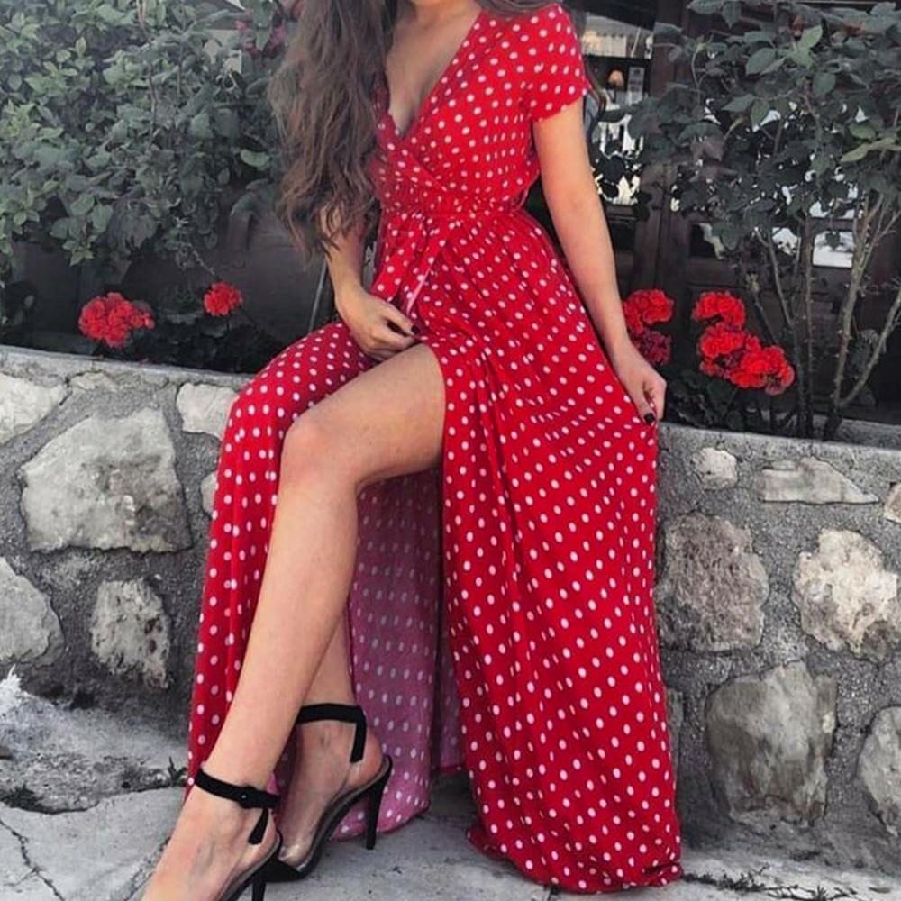 Women's Dress Polka Dot High Split Dress Summer Sexy V-neck Beach Boho Dress Short Sleeve Sashes Maxi Long Dresses Plus Size