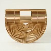 Causal Women's bamboo Purse Ladies Fashion Beach Top Handle Tote Bag Female Summer Hollow Handbags Box Package