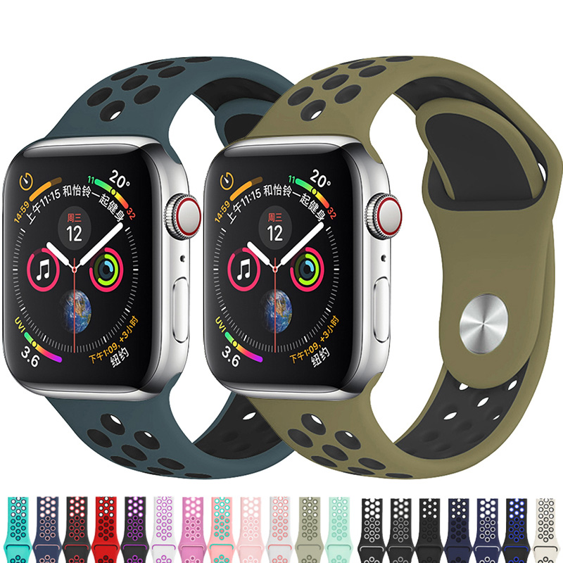 Silicone Strap For Apple Watch Band 44mm 40mm IWatch Band 42mm 38mm Breathable Sport Bracelet Watchband For Iwatch 5 4 3 2 1