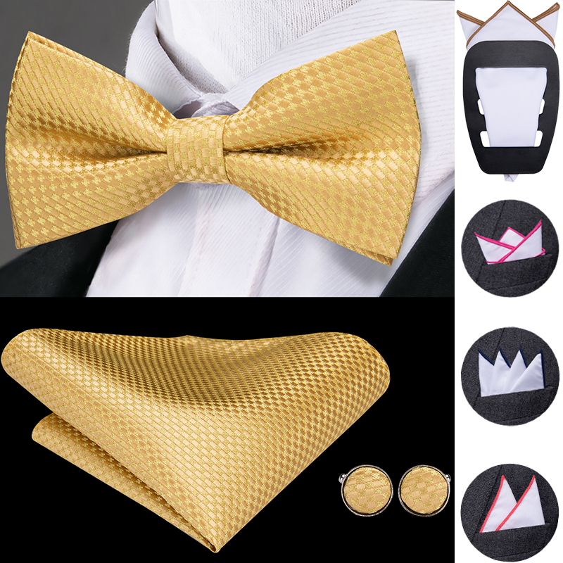 Hi-Tie Classic Gold Bow Ties For Men Silk Butterfly Pre-Tied Bow Tie Pocket Square Cufflinks Set Wedding Party Yellow Bowtie