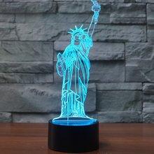 Статуя Свободы, 3D огни, красочные светодиодные лампы с постепенным изменением, настольная лампа с сенсорным пультом дистанционного управления, креативная 3D Светодиодная маленькая настольная лампа