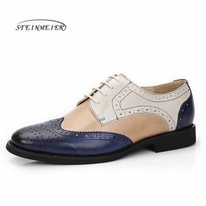 Image 4 - Yinzo Frauen Wohnungen Oxford Schuhe Frau Echtem Leder Turnschuhe Damen Brogues Vintage Casual Schuhe Schuhe Für Frauen Schuhe 2020