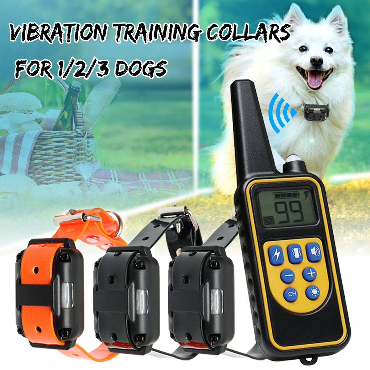 Wireless <font><b>Electric</b></font> <font><b>Dog</b></font> Pet Fence Waterproof Rechargeable Shock Vibration Sound <font><b>Remote</b></font> 1/2/3 <font><b>Dog</b></font> <font><b>Training</b></font> <font><b>Collar</b></font> <font><b>Remote</b></font> Controller image