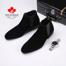Ботинки «Челси» для мужчин; коллекция года; классические ботинки из замши; мужские модные зимние повседневные ботинки на шнуровке; черные классические мужские ботинки